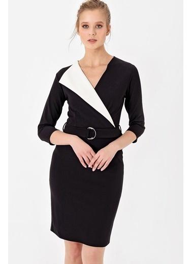 Jument Scuba İki Renkli Şal Yaka D Tokalı Kemerli Elbise Siyah